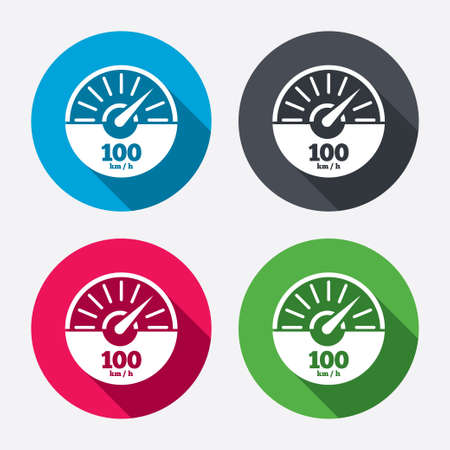 Tachometer sign icon. 100 km per hour revolution-counter symbol. Car speedometer performance. Circle buttons with long shadow. 4 icons set. Vector