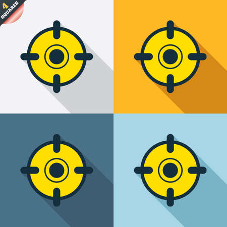 wrapped corner: Crosshair sign icon. Target aim symbol. Four squares. Colored Flat design buttons. Vector Illustration