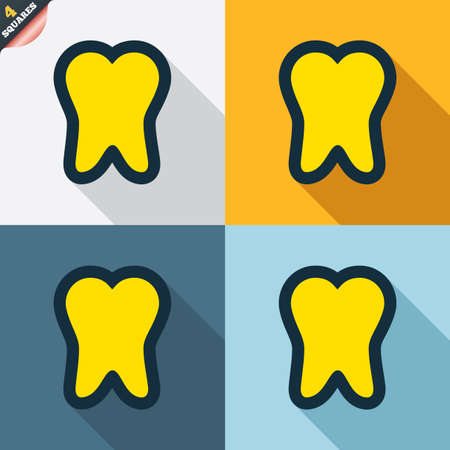 stomatologist: Tooth sign icon. Dental care symbol. Four squares. Colored Flat design buttons. Vector