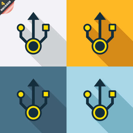wrapped corner: Usb sign icon. Usb flash drive symbol. Four squares. Colored Flat design buttons. Vector Illustration