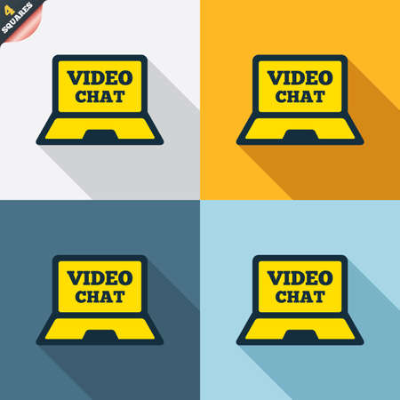 wrapped corner: Video chat laptop sign icon. Web communication symbol. Website video talk. Four squares. Colored Flat design buttons. Vector