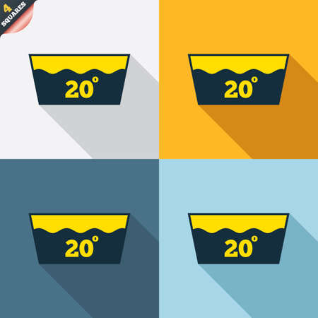 wrapped corner: Wash icon. Machine washable at 20 degrees symbol. Four squares. Colored Flat design buttons. Vector