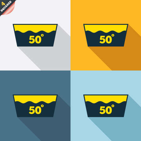 washable: Wash icon. Machine washable at 50 degrees symbol. Four squares. Colored Flat design buttons. Vector