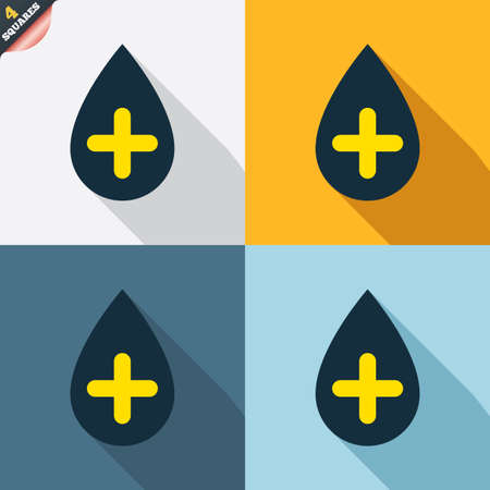 Water drop with plus sign icon. Softens water symbol. Four squares. Colored Flat design buttons. Vector