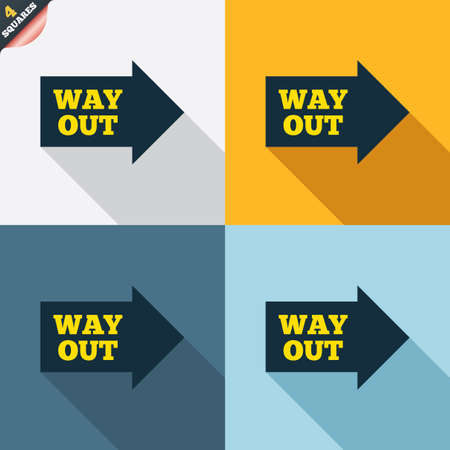 escape route: Way out right sign icon. Arrow symbol. Four squares. Colored Flat design buttons. Vector