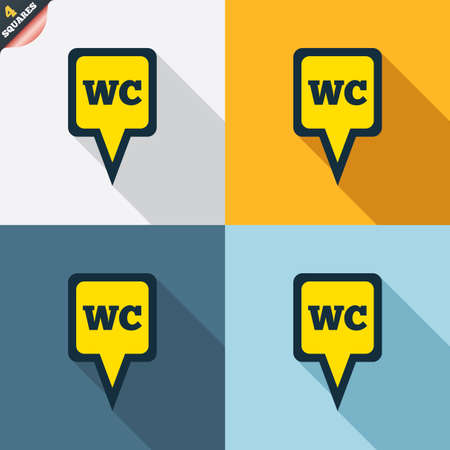 WC Toilet sign icon. Restroom or lavatory map pointer symbol. Four squares. Colored Flat design buttons. Vector Vector
