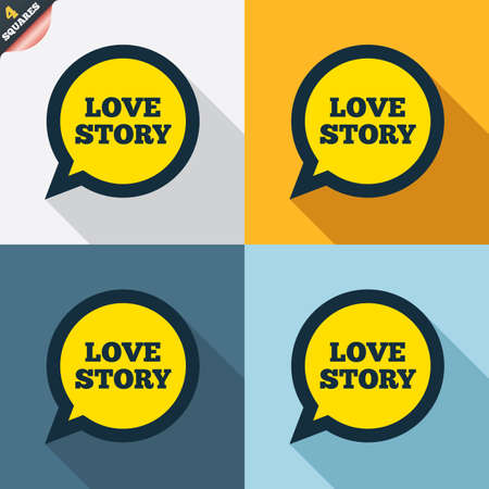 wrapped corner: Love story speech bubble sign icon. Engagement symbol. Four squares. Colored Flat design buttons. Vector