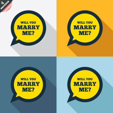 will you marry me: Will you marry me speech bubble sign icon. Engagement symbol. Four squares. Colored Flat design buttons. Vector Illustration