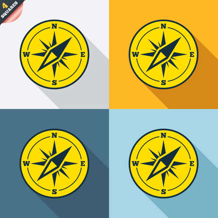 windrose: Compass sign icon. Windrose navigation symbol. Four squares. Colored Flat design buttons. Vector Illustration