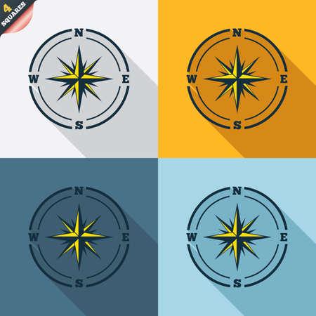 rosa dei venti: Compass icona segno. Windrose simbolo navigazione. Quattro piazze. Tasti colorati Design piatto. Vettore