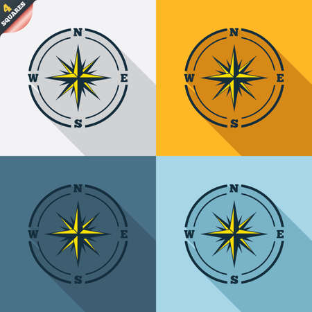 compass rose: Compass sign icon. Windrose navigation symbol. Four squares. Colored Flat design buttons. Vector Illustration