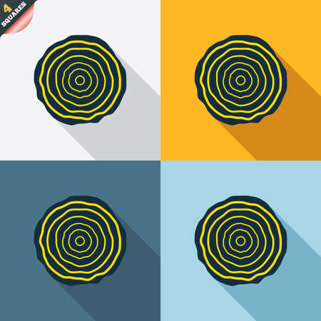 rings on a tree: Wood sign icon. Tree growth rings. Tree trunk cross-section. Four squares. Colored Flat design buttons. Vector Illustration
