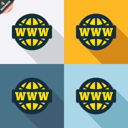 www at sign: WWW sign icon. World wide web symbol. Globe. Four squares. Colored Flat design buttons. Vector