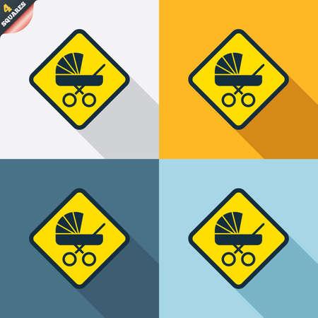 bebe a bordo: Beb� a bordo de signo icono. Infantil en s�mbolo de precauci�n coche. Carro de cochecitos de beb�. Cuatro cuadrados. Botones coloreados dise�o plano. Vector