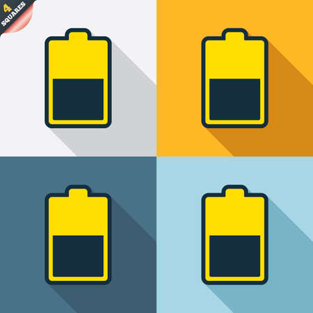 wrapped corner: Battery half level sign icon. Low electricity symbol. Four squares. Colored Flat design buttons. Vector