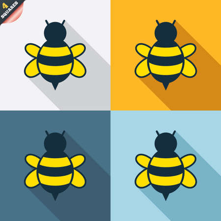 wrapped corner: Bee sign icon. Honeybee or apis with wings symbol. Flying insect. Four squares. Colored Flat design buttons. Vector