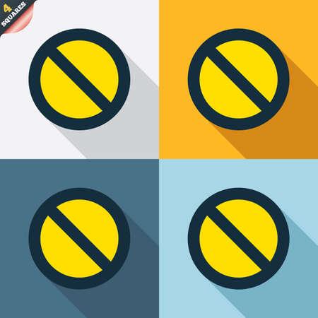 blacklist: Blacklist sign icon. User not allowed symbol. Four squares. Colored Flat design buttons. Vector Illustration