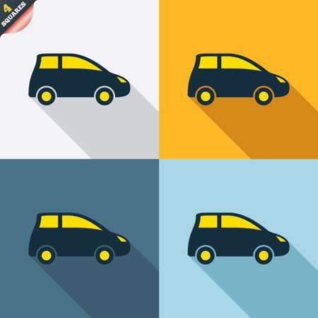 hatchback: Car sign icon. Hatchback symbol. Transport. Four squares. Colored Flat design buttons. Vector Illustration