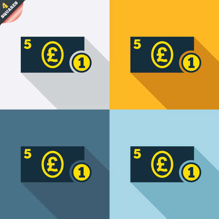 wrapped corner: Cash sign icon. Pound Money symbol. GBP Coin and paper money. Four squares. Colored Flat design buttons. Vector