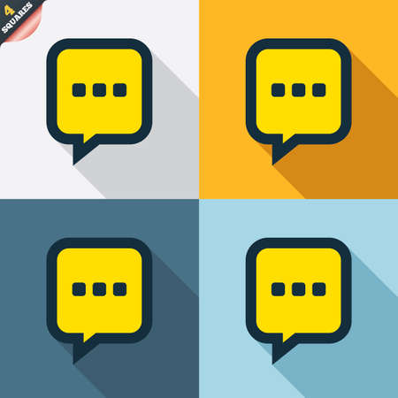 three dots: Chat sign icon. Speech bubble with three dots symbol. Communication chat bubble. Four squares. Colored Flat design buttons. Vector