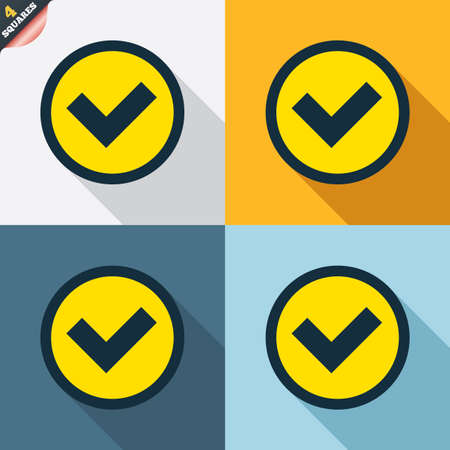 check mark sign: Check mark sign icon. Yes circle symbol. Confirm approved. Four squares. Colored Flat design buttons. Vector