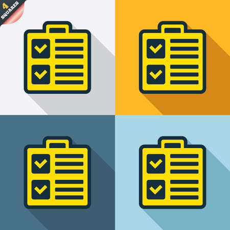 wrapped corner: Checklist sign icon. Control list symbol. Survey poll or questionnaire form. Four squares. Colored Flat design buttons. Vector