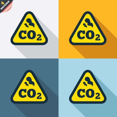 co2: CO2 carbon dioxide formula sign icon. Chemistry symbol. Four squares. Colored Flat design buttons. Vector Illustration