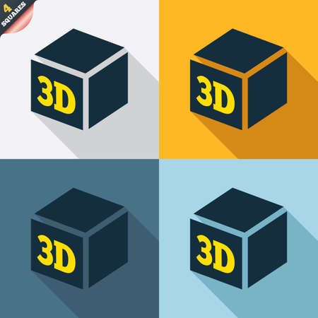 additive manufacturing: 3D Print sign icon. 3d cube Printing symbol. Additive manufacturing. Four squares. Colored Flat design buttons. Vector