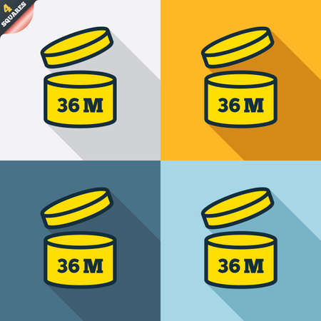 36: After opening use 36 months sign icon. Expiration date. Four squares. Colored Flat design buttons. Vector