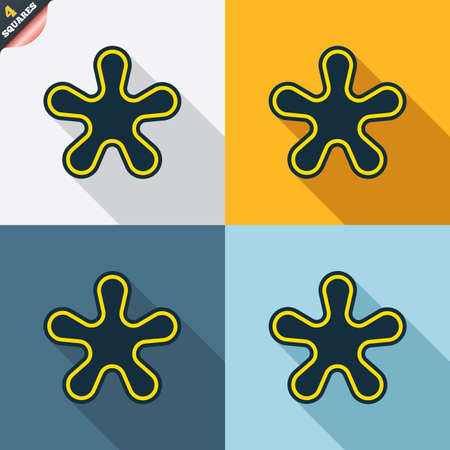 more information: Asterisk round footnote sign icon. Star note symbol for more information. Four squares. Colored Flat design buttons. Vector Illustration