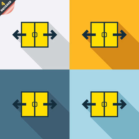 4 door: Automatic door sign icon. Auto open symbol. Four squares. Colored Flat design buttons. Vector