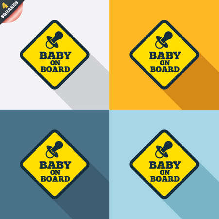 bebe a bordo: Beb� a bordo de signo icono. Infantil en s�mbolo de precauci�n coche. Pez�n chupete de beb�. Cuatro cuadrados. Botones coloreados dise�o plano. Vector Vectores