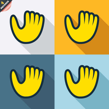 mitt: Baseball glove or mitt sign icon. Sport symbol. Four squares. Colored Flat design buttons. Vector
