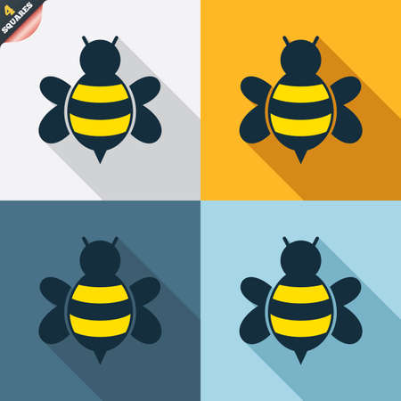 apis: Bee sign icon. Honeybee or apis with wings symbol. Flying insect. Four squares. Colored Flat design buttons. Vector