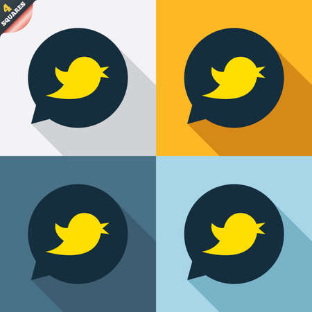 Bird icon. Social media sign. Short messages twitter retweet symbol. Speech bubble. Four squares. Colored Flat design buttons. Vector