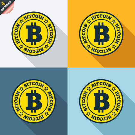 p2p: Bitcoin sign icon. Cryptography currency symbol. P2P. Four squares. Colored Flat design buttons. Vector Illustration