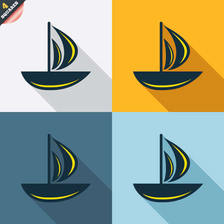 ship sign: Sail boat icon. Ship sign. Shipment delivery symbol. Four squares. Colored Flat design buttons. Vector