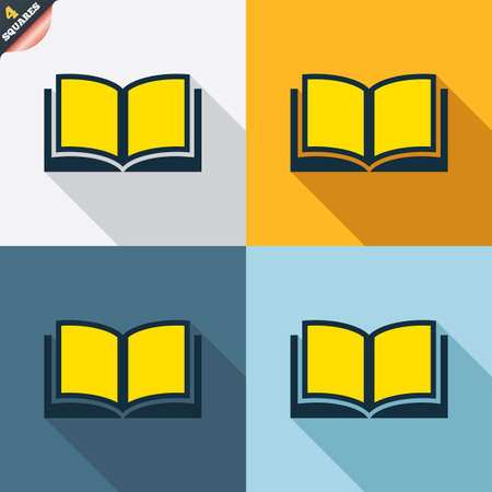 wrapped corner: Book sign icon. Open book symbol. Four squares. Colored Flat design buttons. Vector