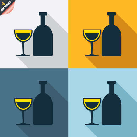 long drink: Alcohol sign icon. Drink symbol. Bottle with glass. Four squares. Colored Flat design buttons. Vector
