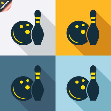 kegelen: Bowling spel teken pictogram. Bal met pin kegel symbool. Vier pleinen. Gekleurde platte ontwerp knoppen. Vector Stock Illustratie
