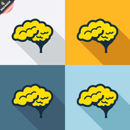 cerebellum: Brain with cerebellum sign icon. Human intelligent smart mind. Four squares. Colored Flat design buttons. Vector Illustration
