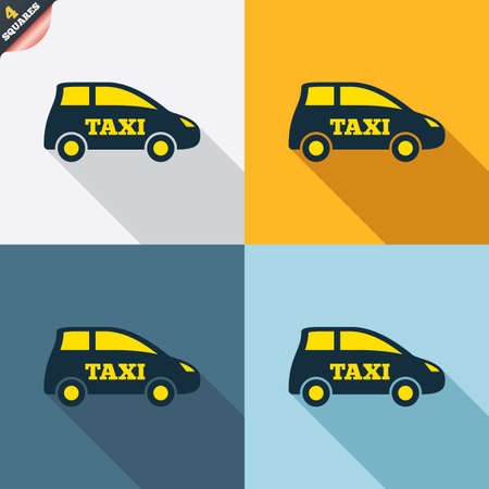 Taxi car sign icon. Hatchback symbol. Transport. Four squares. Colored Flat design buttons. Vector Vector