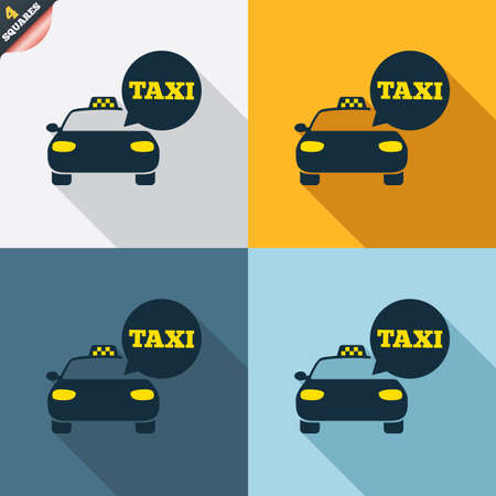 Taxi car sign icon. Public transport symbol. Speech bubble sign. Four squares. Colored Flat design buttons. Vector Vector