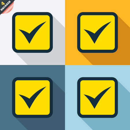 Check mark sign icon. Yes square symbol. Confirm approved. Four squares. Colored Flat design buttons. Vector