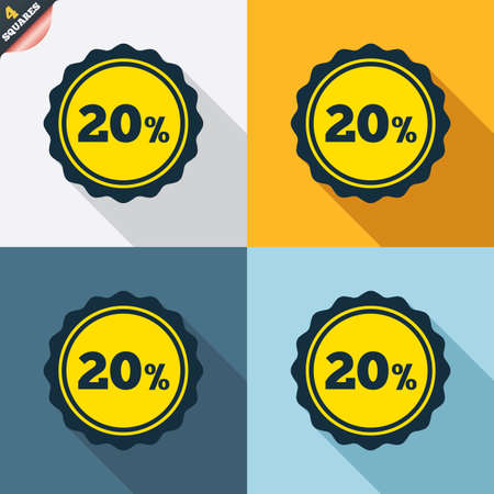 wrapped corner: 20 percent discount sign icon. Sale symbol. Special offer label. Four squares. Colored Flat design buttons. Vector Illustration
