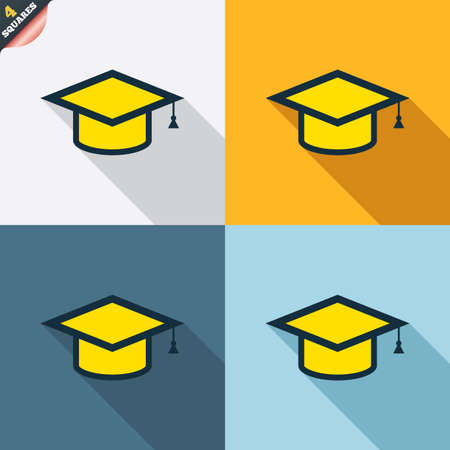 Graduation cap sign icon. Higher education symbol. Four squares. Colored Flat design buttons. Vector