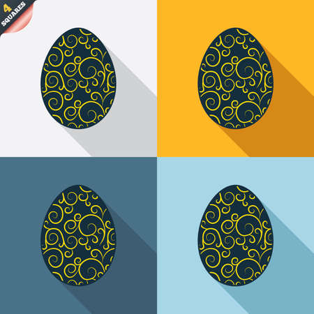 wrapped corner: Easter egg sign icon. Easter tradition symbol. Four squares. Colored Flat design buttons. Vector Illustration