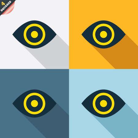 zichtbaarheid: Oogteken icoon. Publiceren knop content. Zichtbaarheid. Vier pleinen. Gekleurde platte ontwerp knoppen. Vector