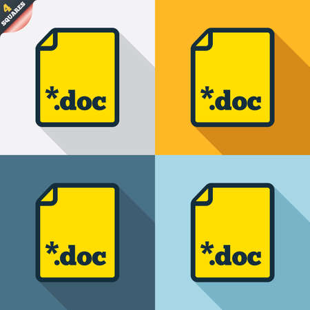wrapped corner: File document icon. Download doc button. Doc file extension symbol. Four squares. Colored Flat design buttons. Vector