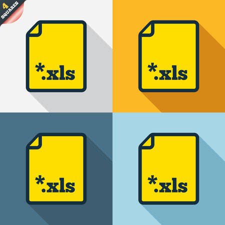 excel: Excel file document icon. Download xls button. XLS file extension symbol. Four squares. Colored Flat design buttons. Vector